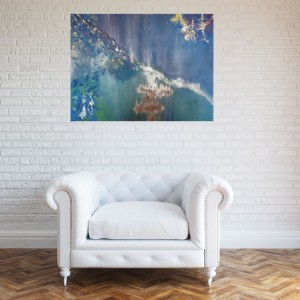 abstract painting blue silver
