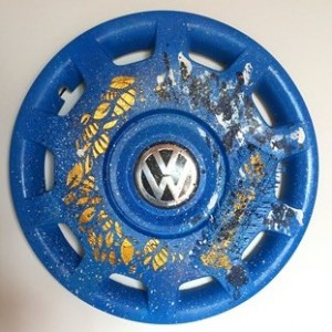 recycled art hubcap